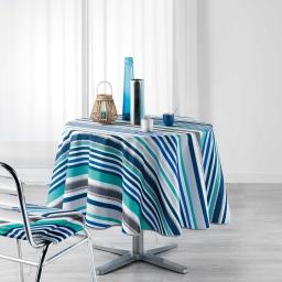 Nappe ronde (0) 180 cm polyester imprime matelot Bleu