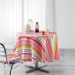Nappe ronde (0) 180 cm polyester imprime matelot Rose