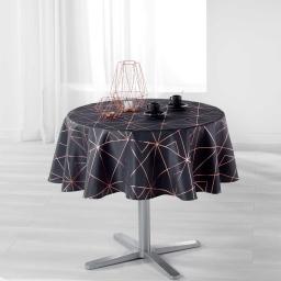 Nappe ronde (0) 180 cm polyester imprime metallise quadris Anthracite/Or rose