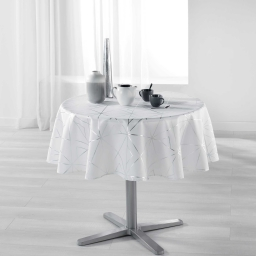 Nappe ronde (0) 180 cm polyester imprime metallise quadris Blanc/Argent