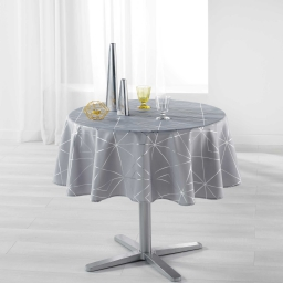 Nappe ronde (0) 180 cm polyester imprime metallise quadris Gris/Argent