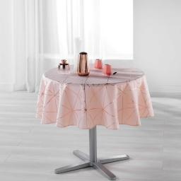 Nappe ronde (0) 180 cm polyester imprime metallise quadris Rose/Or rose