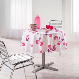 Nappe ronde (0) 180 cm polyester imprime mixi Rose
