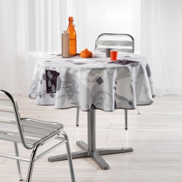 Nappe ronde (0) 180 cm polyester imprime nenuphar Gris