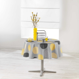 Nappe ronde (0) 180 cm polyester imprime odaly Jaune