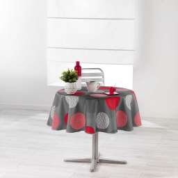 Nappe ronde (0) 180 cm polyester imprime odaly Rouge
