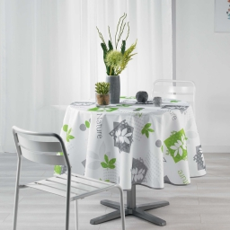 Nappe ronde (0) 180 cm polyester imprime organic Vert