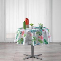 Nappe ronde (0) 180 cm polyester imprime paradizio Blanc