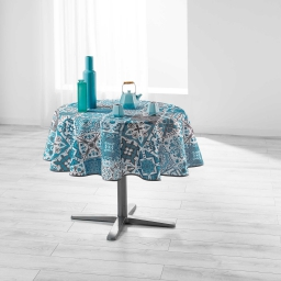 Nappe ronde (0) 180 cm polyester imprime persane Bleu