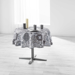 Nappe ronde (0) 180 cm polyester imprime persane Gris