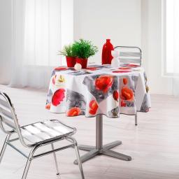 Nappe ronde (0) 180 cm polyester imprime polly Blanc