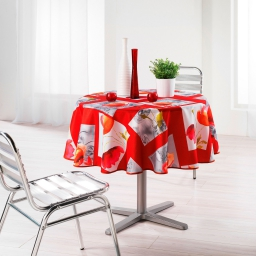 Nappe ronde (0) 180 cm polyester imprime polly Rouge