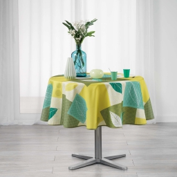 Nappe ronde (0) 180 cm polyester imprime soria Vert