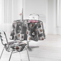 Nappe ronde (0) 180 cm polyester imprime starly Gris