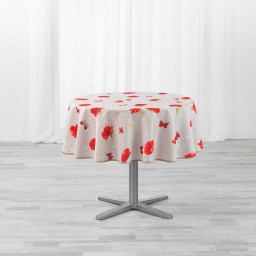 Nappe ronde (0) 180 cm polyester imprimé Sweet poppy