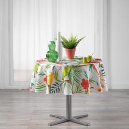 Nappe ronde (0) 180 cm polyester imprime tropicoco Blanc