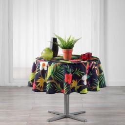 Nappe ronde (0) 180 cm polyester imprime tropicoco Prune