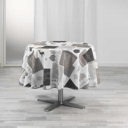 Nappe ronde (0) 180 cm polyester imprime valtho Naturel