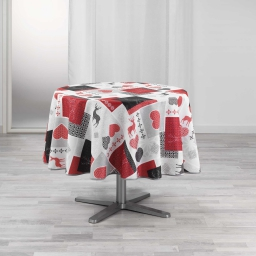 Nappe ronde (0) 180 cm polyester imprime valtho Rouge