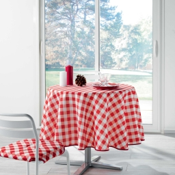 Nappe ronde (0) 180 cm polyester imprime vichy Rouge