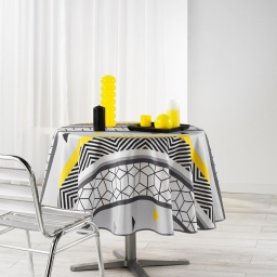 nappe ronde (0) 180 cm polyester imprime yellow mix