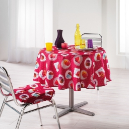 Nappe ronde (0) 180 cm polyester photoprint cafe gourmand Framboise