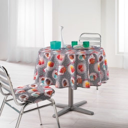 Nappe ronde (0) 180 cm polyester photoprint cafe gourmand Gris