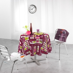 Nappe ronde (0) 180 cm polyester photoprint macarons Prune