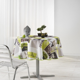 Nappe ronde (0) 180 cm polyester photoprint zanis Blanc