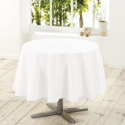 Nappe ronde (0) 180 cm polyester uni essentiel Blanc
