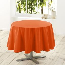 Nappe ronde (0) 180 cm polyester uni essentiel Brique