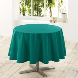 Nappe ronde (0) 180 cm polyester uni essentiel Emeraude