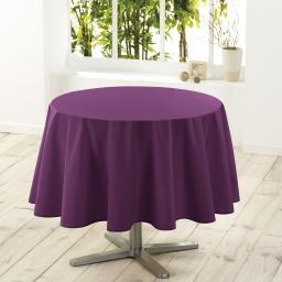 Nappe ronde (0) 180 cm polyester uni essentiel Prune