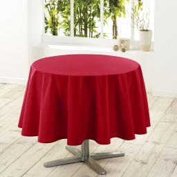 Nappe ronde (0) 180 cm polyester uni essentiel Rouge