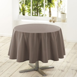 Nappe ronde (0) 180 cm polyester uni essentiel Taupe