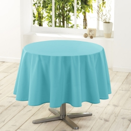 Nappe ronde (0) 180 cm polyester uni essentiel Turquoise
