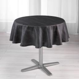 Nappe ronde (0) 180 cm shantung applique scintille Noir