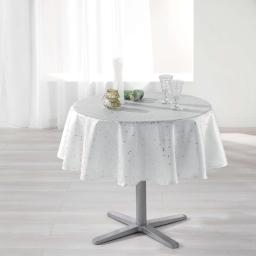 Nappe ronde (0) 180 cm shantung imprime safina Blanc/Or