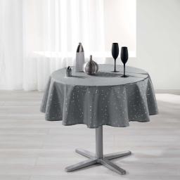 Nappe ronde (0) 180 cm shantung imprime safina Gris/Argent