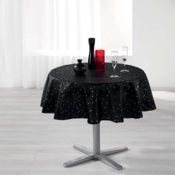 Nappe ronde (0) 180 cm shantung imprime safina Noir/Or