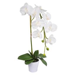 orchidée en plastique 21*h67cm blanche + pot imitation porcelaine blanc