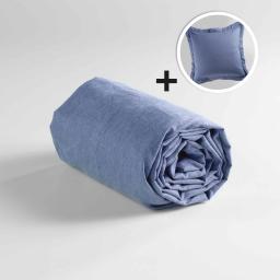 Pack drap housse 1 personne 90 x 190 + 1 taie d'oreiller 63 x 63 polycoton uni actually Bleu
