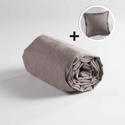 Pack drap housse 1 personne 90x190 + 1 to 63x63 polycoton uni actually Noisette