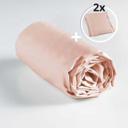 Pack drap housse 180 x 200 cm + 2 taies d'oreiller 63 x 63 point bourdon 100% coton 57 fils couleur Nude