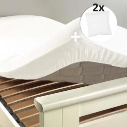 Pack drap housse 2 personnes 160 x 200 + 2 taies 63 x 63 cm 100% coton couleur Blanc