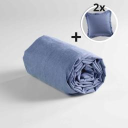 Pack drap housse 2 personnes 160 x 200 + 2 taies d'oreiller 63x63 poly coton uni actually Bleu