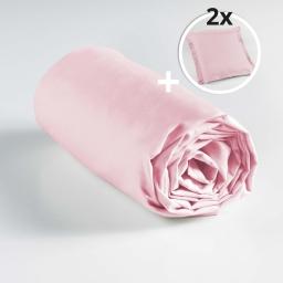 Pack drap housse 2 personnes 160 x 200 + 2 to 63 x 63 pt bourdon lina Rose clair