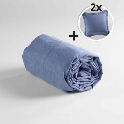 Pack drap housse 2 personnes 160 x 200 + 2 to 63x63 polycoton uni actually Bleu
