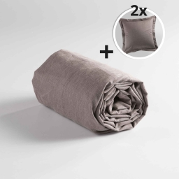 Pack drap housse 2 personnes 160x200+ 2 to 63x63 polycoton uni actually Noisette