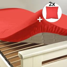 Pack drap housse 2 personnes 180 x 200 + 2 taies 63 x 63 cm 100% coton Couleur Corail Corail